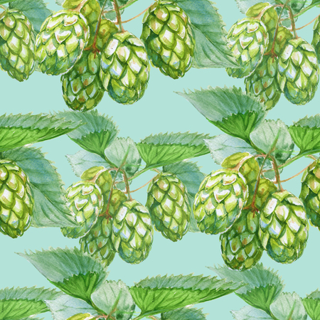 Background cones of Hops. Seamless pattern. Watercolor illustration.