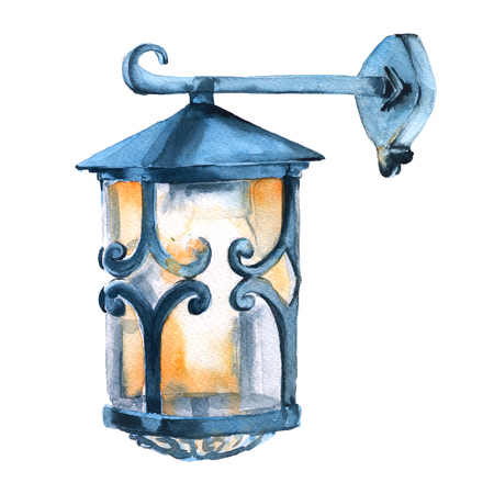 street lamp: Christmas street lamp. Isolated on a white background. Watercolor illustration.