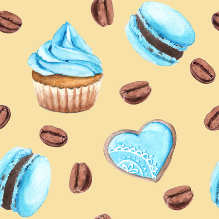 shortbread: Background cakes and coffee. Cupcake, macaron, shortbread. Seamless pattern. Watercolor illustration.