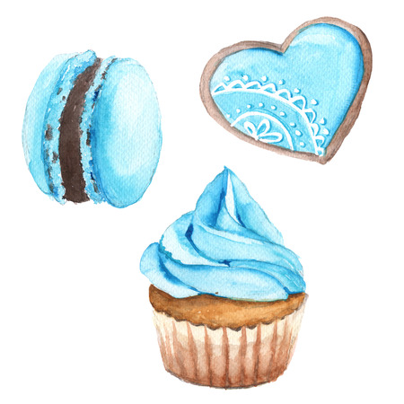 shortbread: Cakes with blue cream. Kopcak, macaron, shortbread. Isolated on a white background. Watercolor illustration.