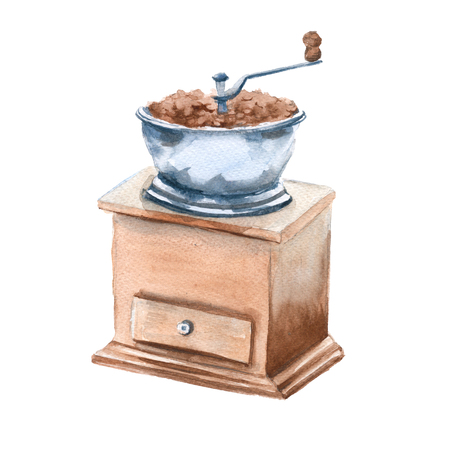 Coffee grinder with beans. Isolated on a white background. Watercolor illustration.