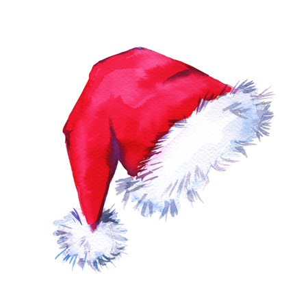 Christmas Santa Claus hat. Isolated on a white background. Watercolor illustration. Banco de Imagens