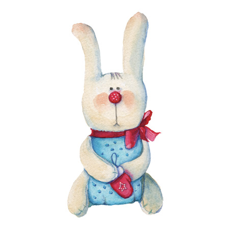 Hare. Childrens soft toy. Isolated on a white background. Watercolor illustration.