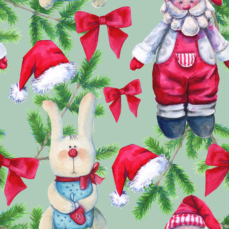 Background toys. Santa Claus and the hare. Seamless pattern. Watercolor Christmas illustration. Stock Photo