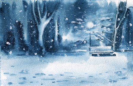 Winter night landscape. Evening Park. Watercolor illustration. Greeting card.