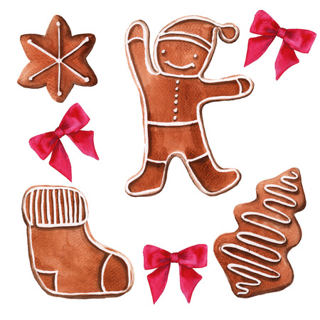 Christmas gingerbread. Isolated on white background. Watercolor illustration. Stock Photo