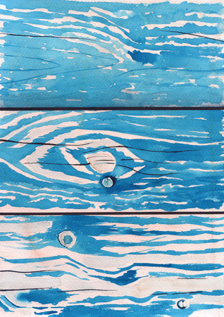 logging: Background old boards and wood. Blue paint. Watercolor sketch. Stock Photo