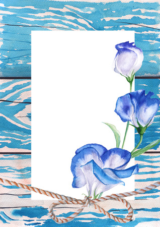 abstract rose: Template greeting cards. Background old plank of wood. Blue paint. Watercolor sketch.