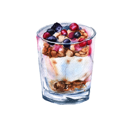 Yogurt with berries and oatmeal. Isolated on a white background. Watercolor sketch.