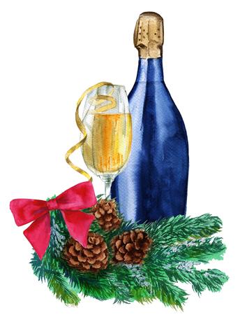 fles champagne in het glas. Geïsoleerd op een witte achtergrond. Aquarel schets.