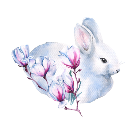 Easter white rabbit with a branch of Jasmine. Isolated on a white background. watercolor illustration.