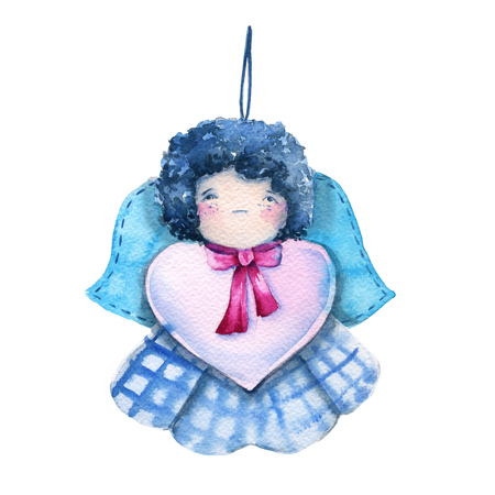 Angel doll with heart. for Valentines day. Isolated on a white background. watercolor illustration.