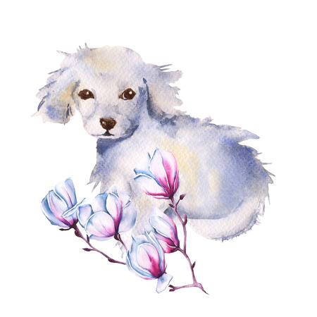 White dog with flower. isolated on a white background. watercolor illustration.