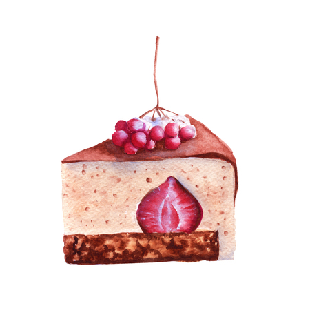 Coffee cake with winter berries. isolated on a white background. watercolor illustration. Stock Photo