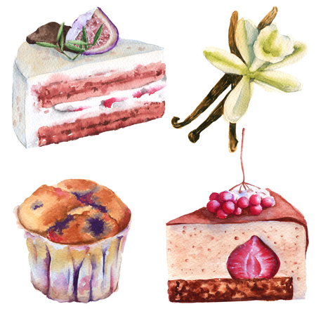 Set cakes, cupcake and vanilla. isolated on a white background. watercolor illustration.