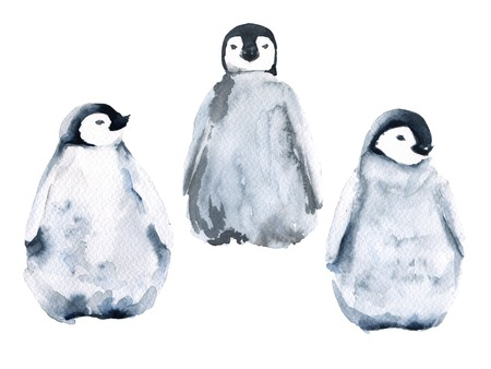 Penguins. The set of three small penguins. isolated on white background. Watercolor illustration. Imagens