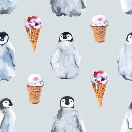 Background penguins and ice cream. Seamless pattern. Watercolor illustration.