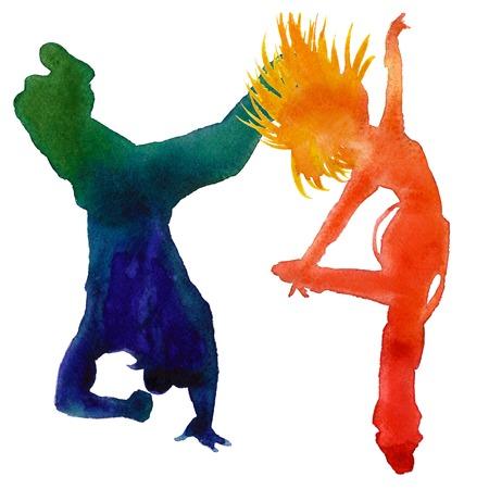 baile hip hop: Silueta de una bailarina. Danza hip hop. dos personas. Aislado en un fondo blanco. Ilustración de la acuarela. Foto de archivo