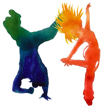 Silhouette of a dancer. Hip hop dance. two people. Isolated on a white background. Watercolor illustration.