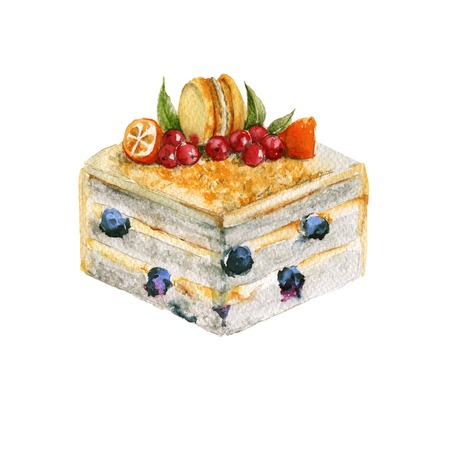 Lemon a piece of cake. With berries and macaron. Isolated on a white background. Watercolor illustration.