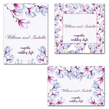 Tarjeta o invitación de boda. Con la flor de magnolia. Ilustración de la acuarela.