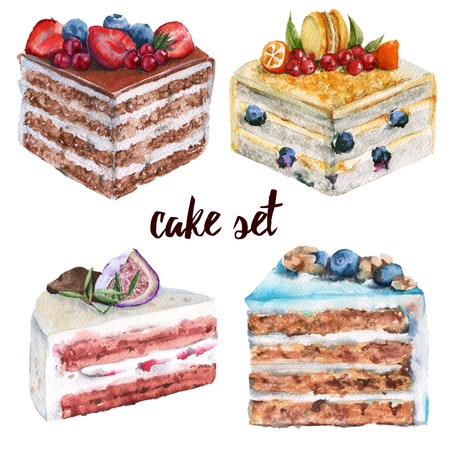 trozo de pastel: Set a piece of cake. With berries and biscuits. Isolated on a white background. Watercolor illustration.