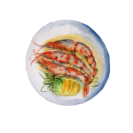 mediterranean homes: Dish with shrimp and sauce. Isolated on white background. Watercolor illustration. Stock Photo