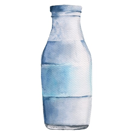 paint container: Bottle with milk or yogurt. Isolated on white background. Watercolor illustration.