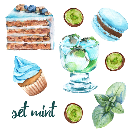 confectionery: Set mint sweets. Cake, candy, ice cream and macaroon. Isolated on white background. Watercolor illustration