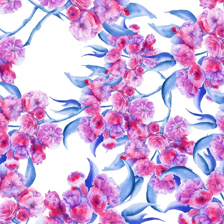 Background branch with Sakura flowers. Seamless pattern. Pattern for fabric. watercolor illustration.