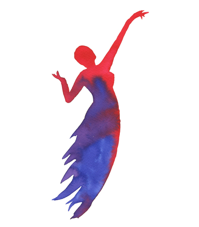 Silhouette of a woman. Dancer isolated on white background. Watercolor illustration.