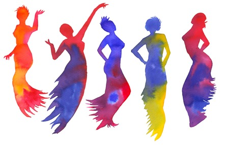 Set of silhouettes of women. Dancer isolated on white background. Watercolor illustration. Stock Photo