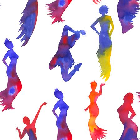 Background silets of women dancing tango.