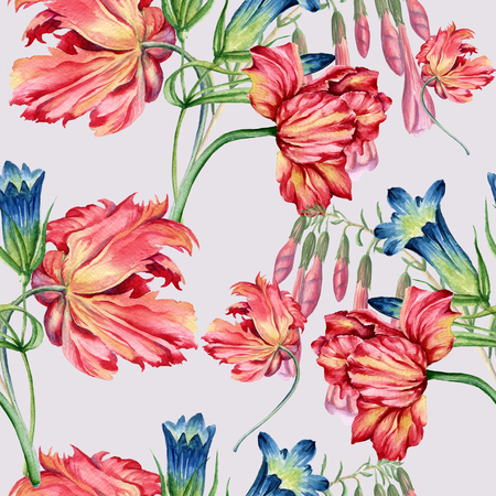 pattern: Background of flowers. Seamless pattern.