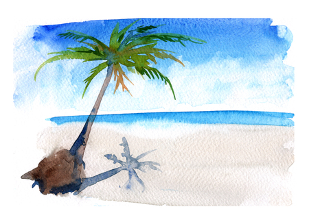 Seascape with a palm tree. Watercolor illustration.