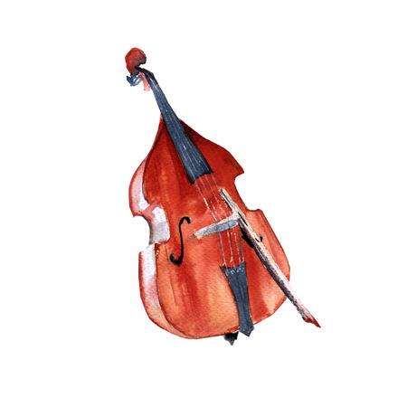 Muziekinstrumenten. Dubbele bas. Geïsoleerd op een witte achtergrond. Waterverf illustratie