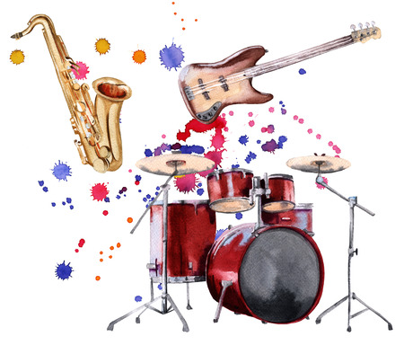 Musical instruments. Saxophone, guitar and drum. Isolated on white background. Watercolor illustration