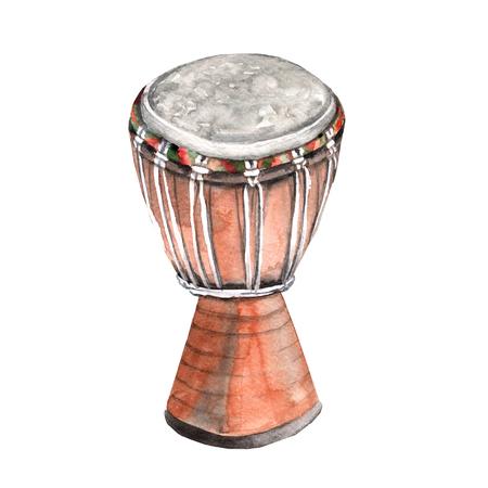Muziekinstrumenten. trommel. Geïsoleerd op een witte achtergrond. Waterverf illustratie