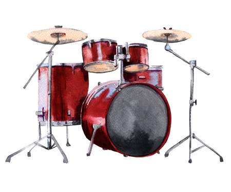 Drum set. Isolated on white background. Watercolor illustration Stock Photo