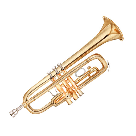 quirky: Musical instruments. Trumpet. Isolated on white background. Watercolor illustration