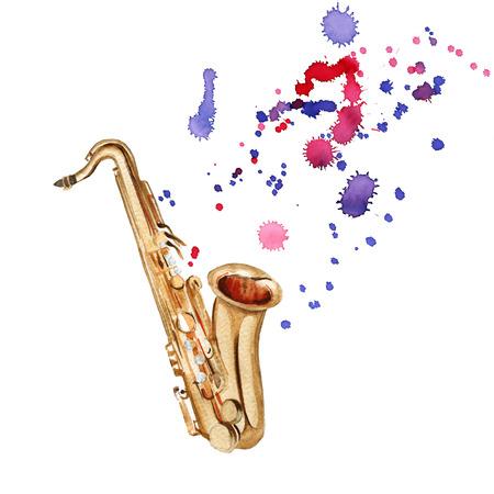 Musikinstrumente . Saxophon . Getrennt auf weißem Hintergrund . Aquarellillustration Standard-Bild - 80647664