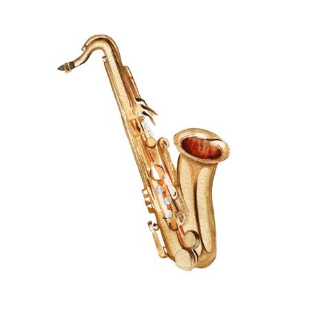 Muziekinstrumenten. saxofoon. Geïsoleerd op een witte achtergrond. Waterverf illustratie Stockfoto