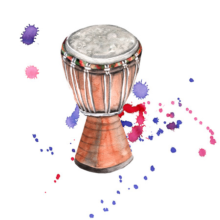 Musical instruments. drum. Isolated on white background. Watercolor illustration