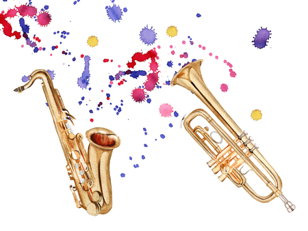 jazz drums: Musical wind instruments. Saxophone and trumpet. Isolated on white background. Watercolor illustration Stock Photo