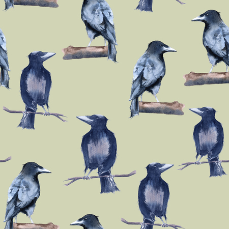 Black Raven Background. Seamless pattern. Watercolor illustration Stock Photo