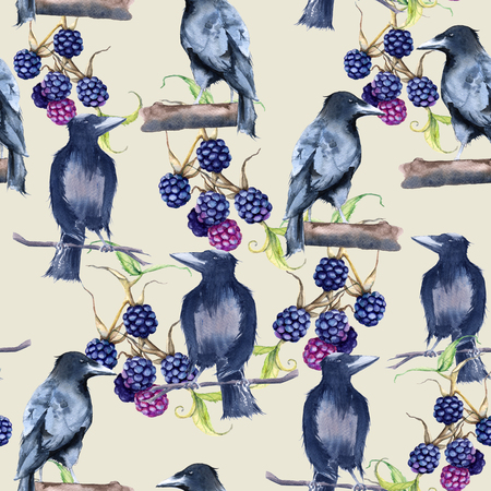 nature one painted: Black Raven Background. Seamless pattern. Watercolor illustration Stock Photo