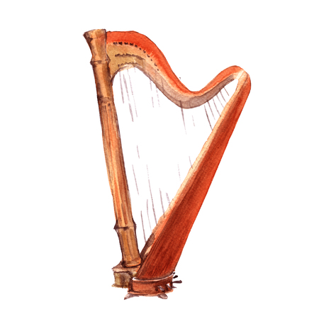 Harp. Musical instruments. Isolated on white background. Watercolor illustration