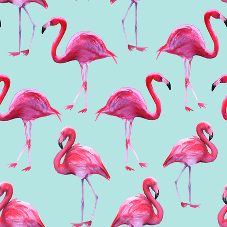Background of pink flamingos. Seamless pattern. Watercolor illustration Stock Photo