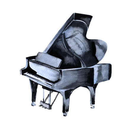 Piano. Musical instruments. Isolated on white background. Watercolor illustration Stock Photo