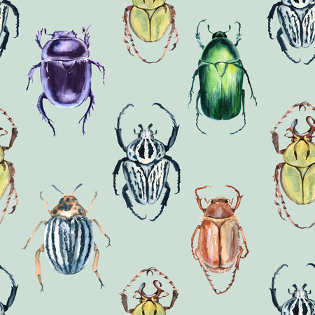 Beetle background. Seamless pattern. Watercolor illustration